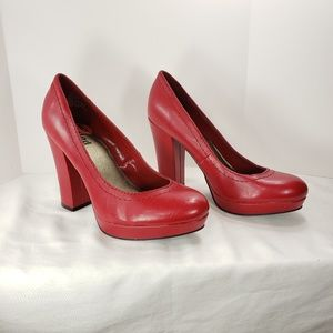 Unlisted Red Block Heel Pumps Faux Leather